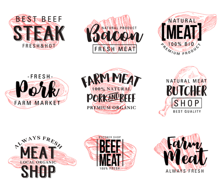 Meat and butcher shop products sketch lettering. Vector steak meat and sausages of cervelat, pepperoni, pork filet or beef cutlet and brisket or ham bacon with gourmet spices for farm butchery