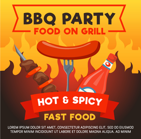 Barbecue or grill party poster for food event or celebration. Vector design of fast food hot dog sausage on fork and BBQ kebab meat in spicy hot fire flames for cafe or restaurant menu