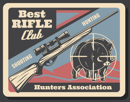 Hunter association or hunting club retro poster. Vector vintage grunge design of aper hog or boar prey in arm target of hunter rifle gun or carbine for hunt open season