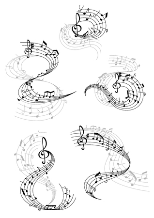 Vector music notes staff waves Ilustracja