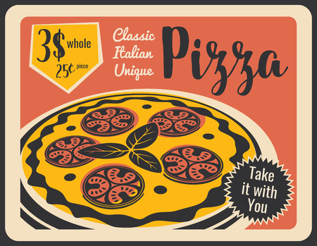 Pizza retro poster for Italian pizzeria restaurant or bistro cafe. vector vintage design of pizza slice with cheese and salami sausage for fastfood delivery or takeaway