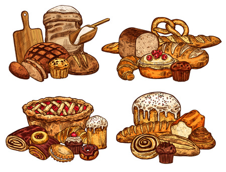 Bakery shop bread and pastry sketch. Vector design of wheat loaf and rye bagel or croissant baguette, flour bag and cutting board with rolling pin, chocolate donut or sweet cookie for patisserie