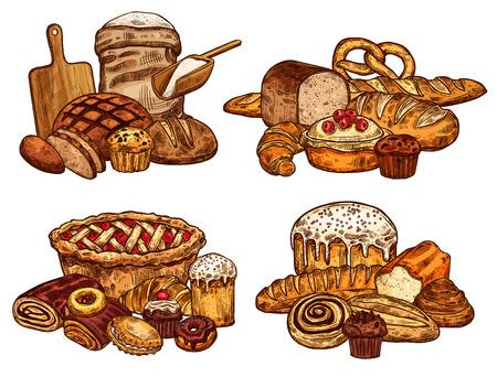 Piekarnia sklep chleb i ciasta szkic. Wektor wzór bochenka pszennego i bajgla żytniego lub bagietki rogalik, worek mąki i deska do krojenia z wałkiem do ciasta, pączkiem czekoladowym lub słodkim ciasteczkiem dla cukierni Ilustracje wektorowe