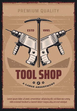 Tool shop retro poster for home repair workshop or house construction and renovation. Vector vintage design of carpentry electric drill and hammer for handiwork tools store Ilustracja