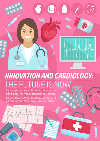 Cardiology and innovation cardio medicine poster for heart health clinic and medical surgery. Vector design of cardiologist doctor, first aid kit and syringe or treatment pills with cardiogram