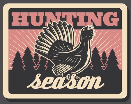Vector blackcock retro poster for hunting season Illustration