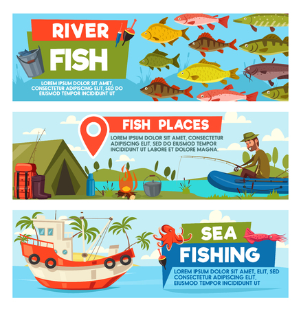 Vector fisherman on fishing cartoon banners