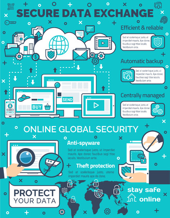 Vector poster for secure data exchange Vektoros illusztráció