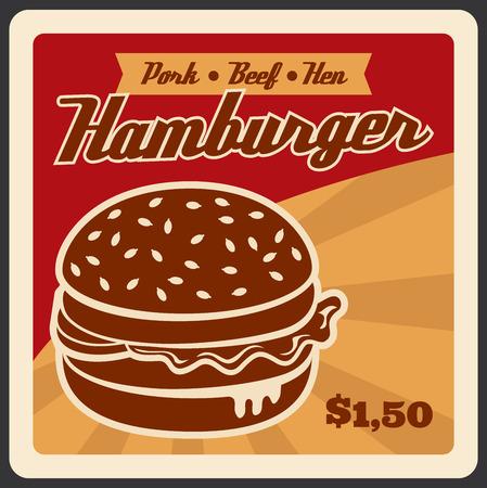 Vector retro poster for hamburger fast food