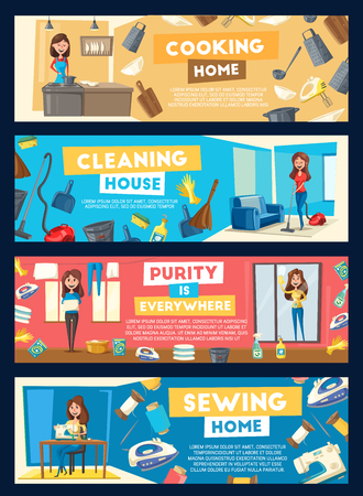 Vector banners for house cleaning and cooking Standard-Bild - 104316623
