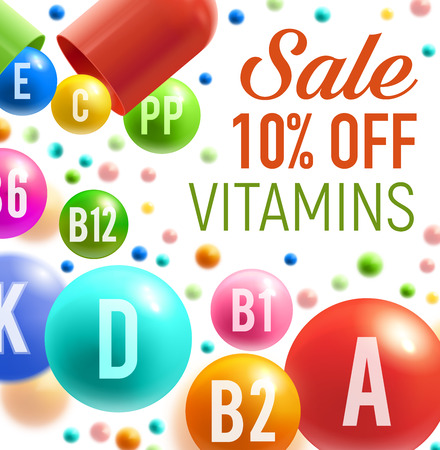 Vector poster for vitamins and multivitamins sale Banco de Imagens - 104316624