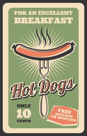 Vector retro poster of hot dog fast food Illustration