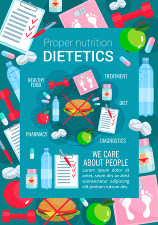 Dietetics and proper nutrition poster for healthy food and diet. Vector apple fruit and low fat meal or no hamburger prescription, fitness sport and dietary medical items for weight loss Illustration