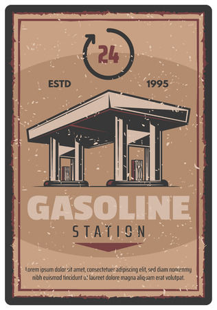 Gasoline station retro poster for car fuel. Vector vintage design of gas station 24 hours service for automobile shop or mechanic repair center or garage Ilustracja