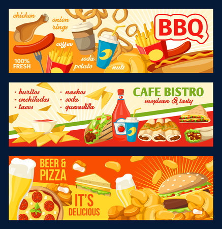 Fast food burgers, sandwiches or pizza and desserts for fastfood restaurant or cafe menu. Vector design of hamburger, cheeseburger or hot dog and BBQ chicken nuggets with beer and soda drink
