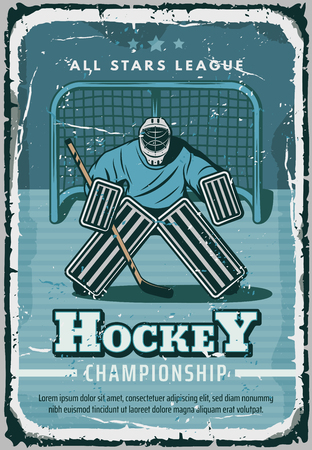 Hockey sport retro poster. Vector vintage design of hockey player or goalkeeper on ice rink in outfit with puck and hockey stick for league team championship or cup
