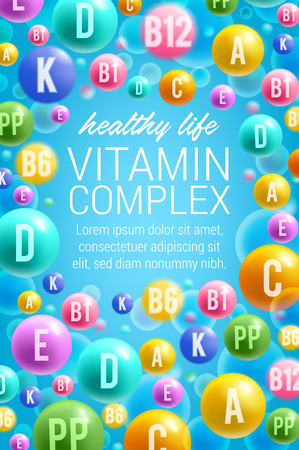 Vector poster of vitamins and multivitamins