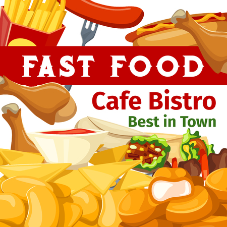 Vector poster or menu for fast food cafe bistro