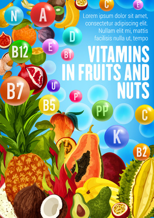 Vector poster with vitamins of fruits and nuts