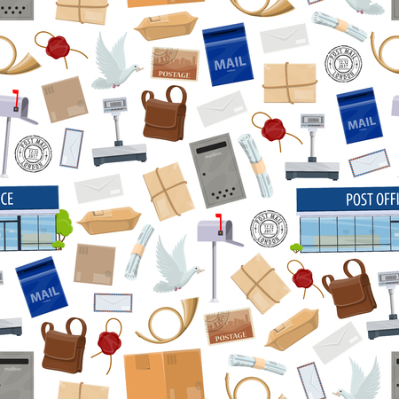 Post service seamless pattern with big parcels Иллюстрация