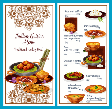 Menu of healthy Indian cuisine with delicious exotic dishes. Meals of rice with picante condiments, soup with lentils, king shrimps in batter, spicy chicken and cheese at tandoor with prices vector