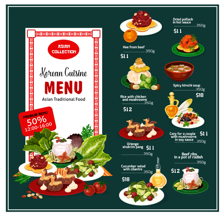 Korean cuisine asian traditional food menu dishes list and prices. Hee from beef and dried pollack in sauce, rice with chicken, kimchi soup and orienge shukrim pang. Desserts and main courses vector Foto de archivo - 114960309