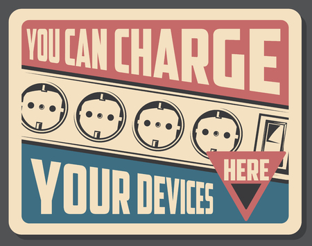 Power sockets on retro poster with charge your device here sign. Electrical outlet switches, electricity and wiring vintage placard. Electric gadgets and appliances store or shop advertisement vector