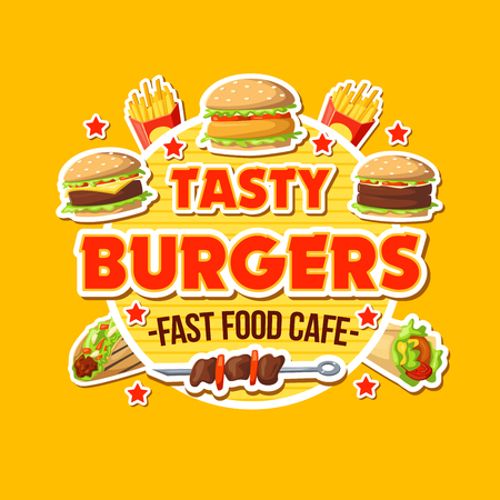 Fast food cafe with tasty burgers poster. Hot barbecue on skewer and hamburger, french fries, doner kebab symbols. Street ready meals cafe icons with packs of takeaway food vector sticker isolated