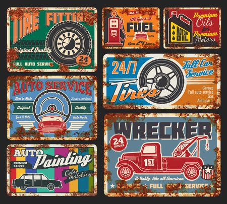 Car service and tire fitting retro cards. Automobile painting, tires and wheels repair, all types of fuel and oils change. Vehicle wrecker order, full service and auto parts available 24 h vector Vettoriali
