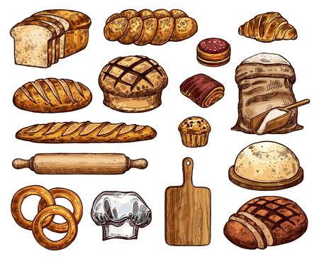 Produits de boulangerie et outils pour le travail de la pâte. Pain de blé et de seigle, baguette longue, sac de farine et cupcake, planche à découper en bois avec rouleau à pâtisserie et bagel, croissant et pain grillé, petit pain à biscuits et bagel