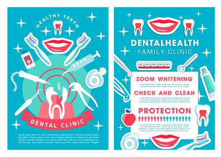 Dental poster with family clinic services. Check and clean, zoom and whitening, protection dental health care procedures and dentist accessory icons vector orthodontic advertisement brochure design Illustration