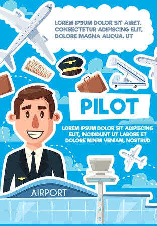 Pilot recruting hiring poster, job vacancy at airport, aviator required. Passenger liner and baggage, flight tickets and ladder, pilot in uniform. Recruitment of skillful man to drive airplane vector Illustration