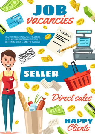 Job vacancy hiring poster. Recruitment of vendors, seller required. Paper pack full of products and cashier in uniform, money bills and credit cards, coins and basket for purchases and food vector. Illustration