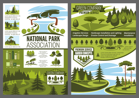 Landscape design, parks and forest construction green company posters. Garden services and environmental maintenance. National park and forests association for ecology protection vector leaflets  イラスト・ベクター素材
