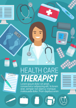Professional therapist in robe with stethoscope on health care poster. Medical kit of pills with electronic thermometer and modern scales, apparatus for measuring blood pressure and monitors vector