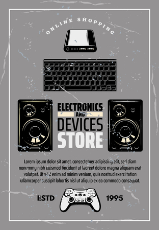 Modern devices and electronics shop old monochrome crumpled poster. Big powerful loud speakers, computer keyboard and game console with play joystick on shabby retro technology vector brochure