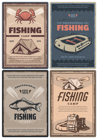 Fishing store and camp for professional retro posters. Leisure and hobby connected with nature promotion. Full rucksack and waterproof tent, big fish, red crab and inflatable boat vintage vector 向量圖像