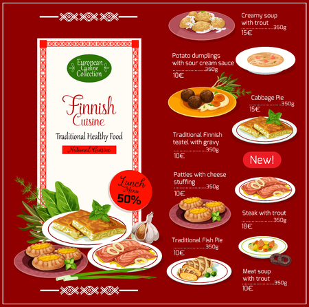 Finnish cuisine menu traditional national food. Meat soup and steak with trout, potato dumplings in sour cream, cabbage and fish pie, teatel with gravy and patties with cheese, vector