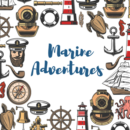 Marine symbols and nautical icons poster. Bearded sailor and lighthouse, diving helmet and sea turtle, retro compass and gold deck bell. Wooden ship and anchor, smoking pipe and lifebuoy vector