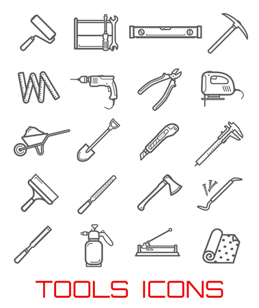 Tools icons and symbols, instruments for building line art. Roller, screwdriver and wrench, level ruler and sharp pick, electric drill and big pliers, jig saw and cart with sand, outline vector Foto de archivo - 104909600