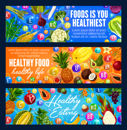 Healthy food banners with fruits, vegetables and vitamins. Promotion of healthy eating organic products, healthiest food dieting ingredients, exotic tropical juice fruit and grocery veggies vector