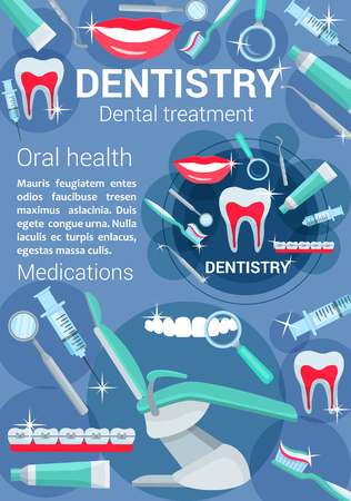 Dentistry poster with dental tools and medications. Oral health concept, stomatology, prosthesis and orthodontic equipment. Dentistry treatment vector brochure design with dental chair and accessories Illustration