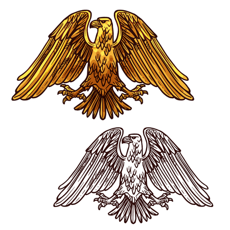 Vector sketch silhouette of heraldic eagle. Bird symbolizes perspicacity, courage, strength and immortality. Outline griffin eagle or falcon for tattoo or mascot design heraldic symbol of power