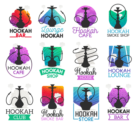 Hookah icons and symbols isolated. Lounge bar and smoke shop icons, hookah club and house emblems vector. Instrument for vaporizing and smoking flavored tobacco, alternative shisha smoking Vettoriali