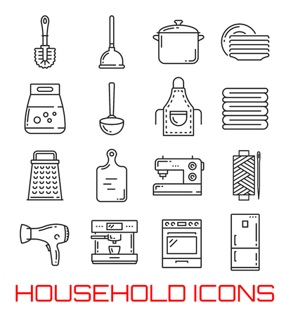 Vectors set rush and rubber plunger, saucepan and clean dishware, washing powder pack and metal ladle, apron and towels, sharp grater and cutting board, sewing machine and kitchen appliances. Line art