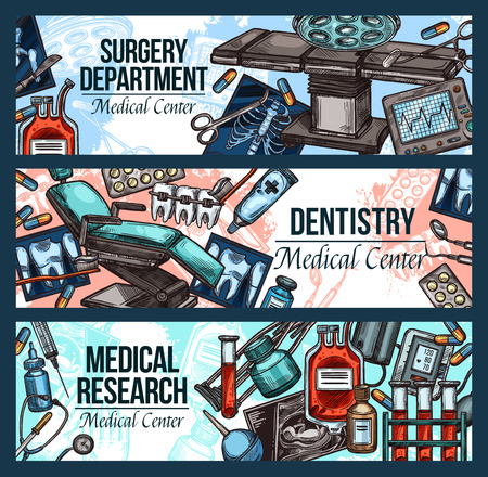 Surgery department, dentistry and medical research banners in sketch style. Equipment for examination and treatment, dentists chair, sterile containers with blood, braces and medications vector Çizim