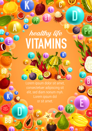 Healthy life with vitamins A, C, D and and minerals B, K, P poster. Fruits and vegetables, exotic fruits and symbols in color bubbles, vector leaflet with grocery veggies. Groceries rising immunity Illustration