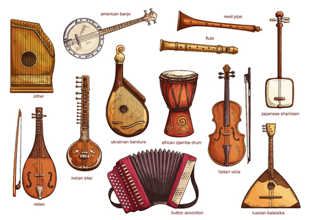 Musical instruments set zither and american banjo, reed pipe and flute. Classical music equipment collection rebac and indian siltar, ukrainian bandura and button accordion, african djembe drum vector 矢量图像
