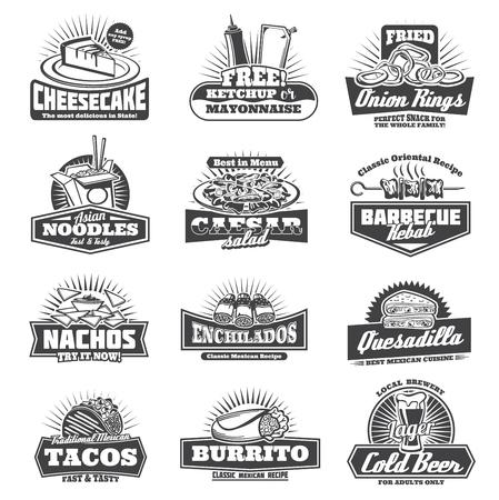 Insignias para llevar pastel de queso dulce, kétchup y mayonesa gratis, aros de cebolla y fideos asiáticos. Ensalada César y kebab de barbacoa, nachos crujientes y quesadillas de enchiladas, tacos mexicanos y cerveza. Ilustración de vector