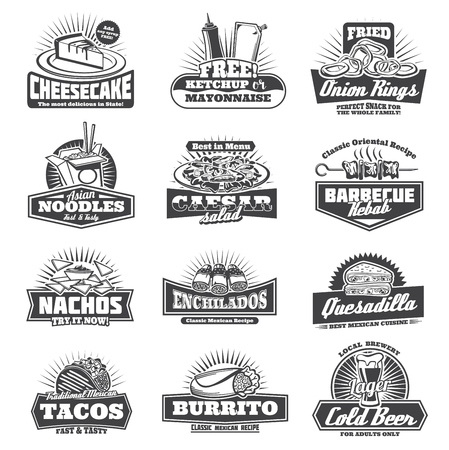 Takeaway badges sweet cheesecake, free ketchup and mayonnaise, onion rings and Asian noodles. Caesar salad and barbecue kebab, crispy nachos and enchiladas quesadilla, Mexican tacos and beer vector Stock Vector - 104909604